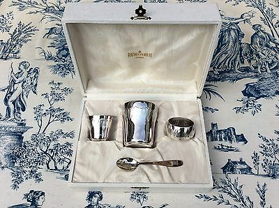 Vintage French Child's Table Set - Cup, Spoon, Napkin Ring (997)