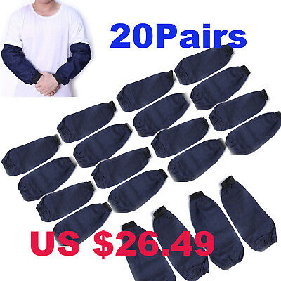 20Pairs Welding Arm Sleeves Denim Heat Protection Dust Resistant Welding Safety