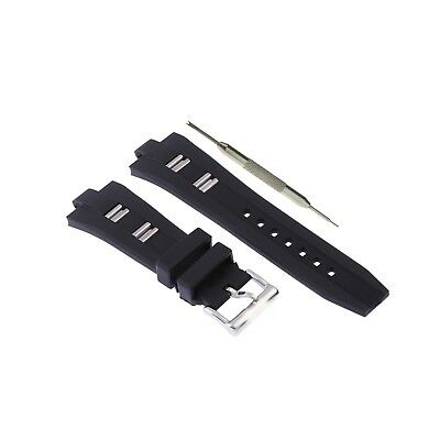8x26mm Black Silicone Rubber Watch Strap Band Fits For Bvlgari Diagono W/ Tool
