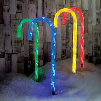 Candy Cane Stake Path Lights | Outdoor Garden Xmas 75cm Plug In Christmas LED
