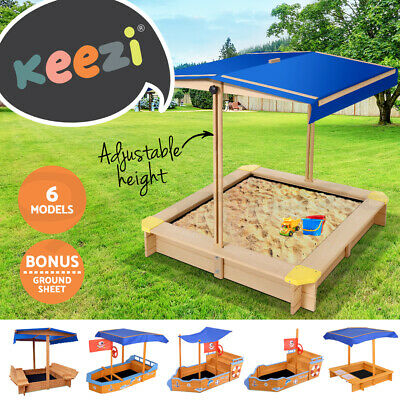 Keezi Kids Sandpit Outdoor Toys Wooden Play Set Canopy Sand Pit Toy Box Children
