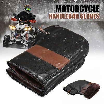 Winter Waterproof Leather Motorcycle Scooter Handlebar Grip Hand Muffs Gloves