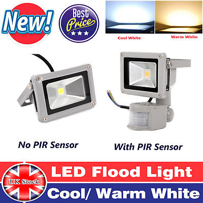 With/ Without PIR Sensor LED Floodlight Security Garden Light Cool or Warm White
