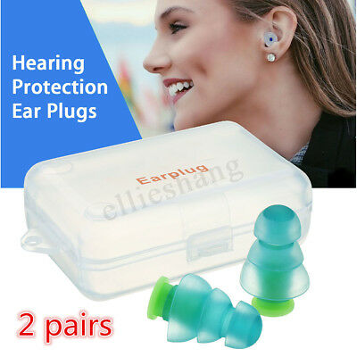 2Pairs 25db Hearing Protection Ear Plugs Noise Reducer For Concert Sleep Party