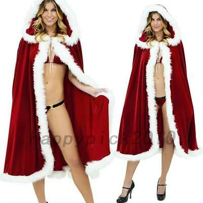 Red Velvet Cappa Cloak Cape Santa Costume Christmas Party Holiday Celebration