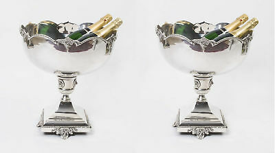 Pair Silver Plated Champagne Coolers Punch Bowls