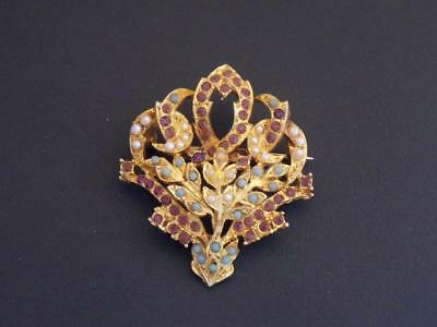 VINTAGE Exquisite Signed Goldtone, Purple, Faux Pearl/Turquoise Floral BROOCH