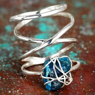 Raw Stone Apatite Ring Sterling Silver Ring Wire Wrapped Uncut Gemstone size 6 9