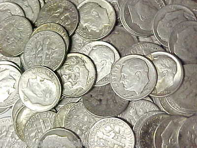 Lot of 100 Roosevelt 90% Silver Dimes 1946-1964 $10 Face Value