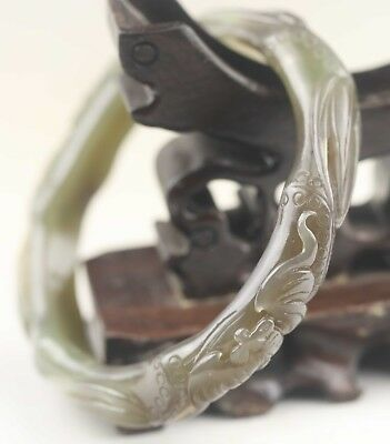 China natural hetian jade bangle hand carved dragon flower Bracelet
