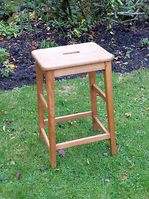 Vintage Lab Stool. Beech + Elm with Hand Holes.