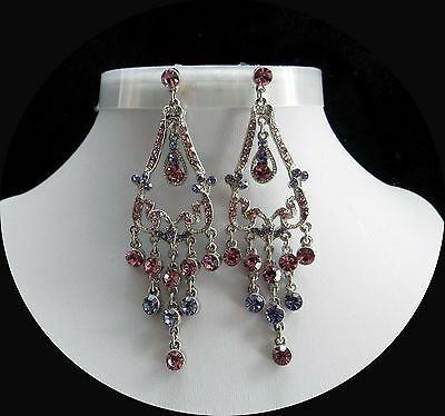 Vintage Party Chandelier Earrings with Lt Amethyst Australia Crystal E2124F