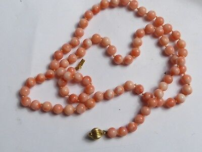 "6mm coral bead 24"" necklace with 18k solid gold catch"