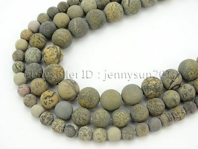 Natural Matte Artistic Jasper Gemstone Round Spacer Beads 15.5'' 6mm 8mm 10mm