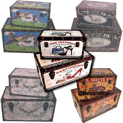 Storage Trunk Chest Set of 2 Classic Retro Vintage Style Box 1x Large & 1x Small