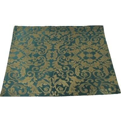 Set of 4 Damask Table Placemats in Emerald Green