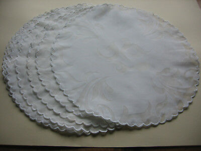 """7 Organdy Round Placemats Hand Embroidered Buttonhole Stitch Edges 15"""" Diameter"""