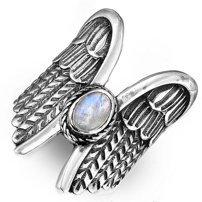 Angel Wings Ring Sterling Silver Moonstone Boho Statement Adjustable Size 7 8 9