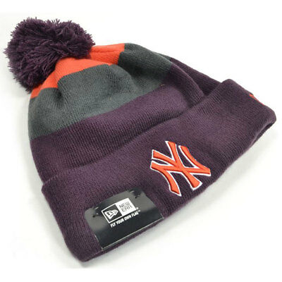 New Era MLB New York Yankees Block Stripe Baseball Bobble Hat (Purple) rrp£20