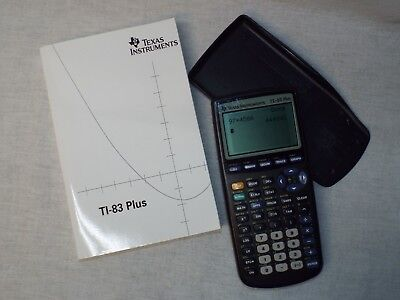 Texas Instruments TI 83 Plus Graphing Calculator with Manual TESTED ~ WORKS