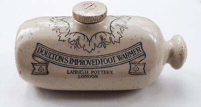 c1890 DOULTON'S IMPROVED FOOT WARMER. Lambeth Pottery, London. Advertising/ Home