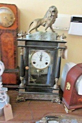 Unusual Four Glass Mantle Clock with Lion