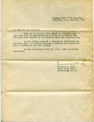 World War 1 Letter Recommendation Jacob B Knobloch  Capt Francis M Rich 57Th Inf