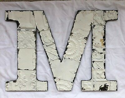 "Large Antique Tin Ceiling Wrapped 16"" Letter 'M'' Patchwork Metal White 556-18"