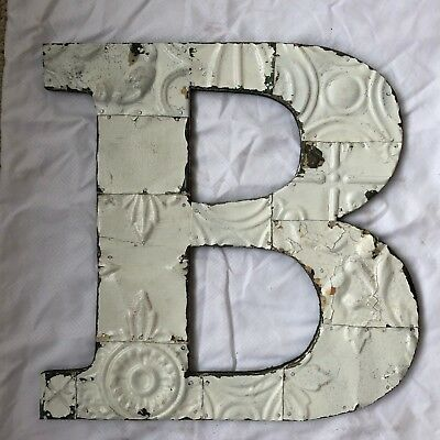 "Large 1890's Tin Ceiling Wrapped 16"" Letter 'B' Patchwork Metal White 541-18"