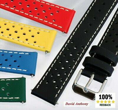 18mm-24mm LUXURY LEATHER WATCH STRAP. BLACK BLUE GREEN RED YELLOW RACING PRIX