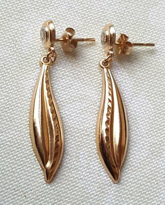 Vintage 9Ct Gold Diamond Drop Earrings