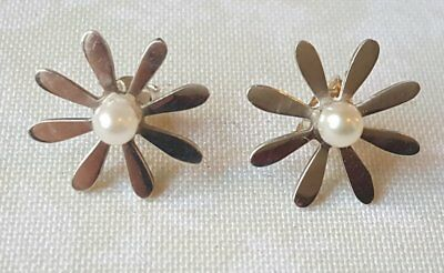 Vintage Sterling Silver Cultured Pearl Flower Earrings