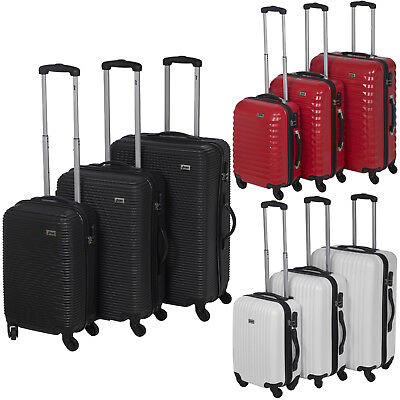 3pc Penn ABS 4 Wheeled Spinner Suitcase Set Hard Shell Luggage Baggage Cases New