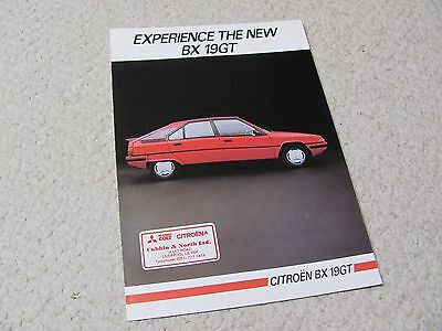 1985 Citroen Bx 19Gt Sales Brochure In English..