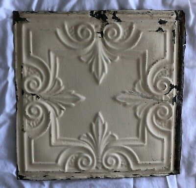1890's 12 x 12 Antique Tin Ceiling Tile Ivory Metal Reclaimed Anniversary 536-18
