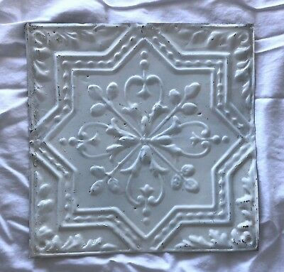 1890's 12 x 12 Antique Tin Ceiling Tile white Metal Reclaimed Anniversary 530-18