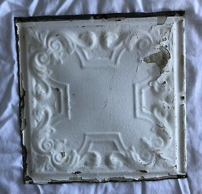 1890's 12 x 12 Antique Tin Ceiling Tile white Metal Reclaimed Anniversary 532-18