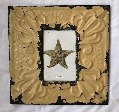 """Antique Ceiling Tin Picture Frame 4"""" x 6""""  Vintage Reclaimed Metal 543-18"""