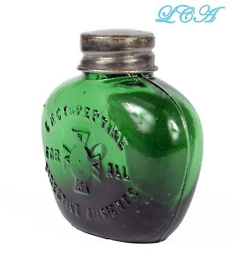Tiny HEART shape COLORFUL GREEN antique PILL bottle LACTOPEPTINE w/pic CROSS