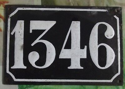 Large old black French house number 1346 door gate wall plate enamel metal sign