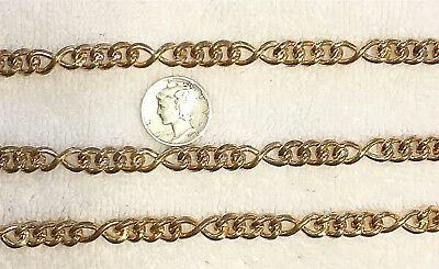 Vintage Rare Large Link Solid Brass Id Type Of Jewelry Chain 4 Feet