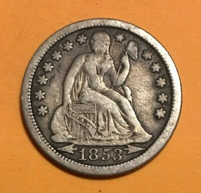 1853 Seated Liberty Dime, with Arrows, Better Date, Much Better Grade