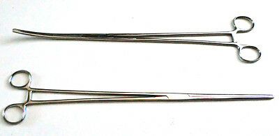 """New 2pc Set 16"""" Straight + Curved Hemostat Forceps Locking Clamps  Stainless"""