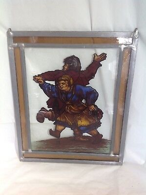 Antique Singed Stained Glass Hanging Window Decor Sun Catcher Dancing Couple