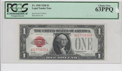 Red Seal  $1 1928  PCGS Graded Choice  new 63PPQ  tape on holder