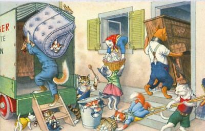 Old ALMA Mainzer Postcard 4760 Cat Moving Mess Switzerland c1950s Mint