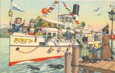 Vintage ALMA Comic Postcard 4745 Cats on Cruise Mainzer Mint Switzerland 1950s