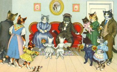 Künzli ALMA Mainzer Postcard 4737 Cat Family Gathering Switzerland c1950s Mint