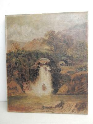 really old PAINTING antique oil canvas WATER FALL signed