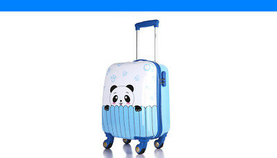 A842 Blue Cartoon Universal Wheel ABS+PC Children Suitcase Luggage 18 Inches W